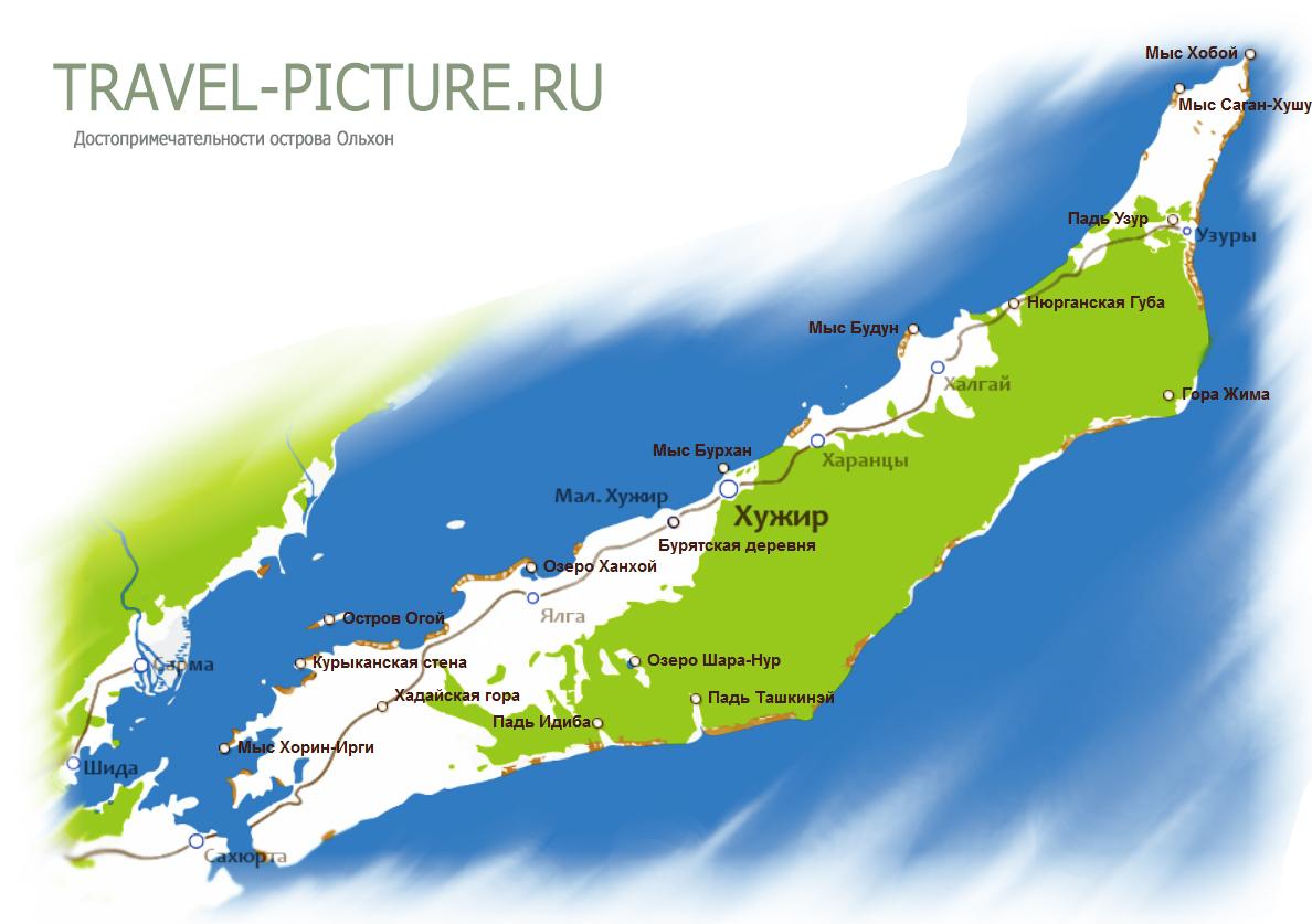 карта достопримечательностей ольхона