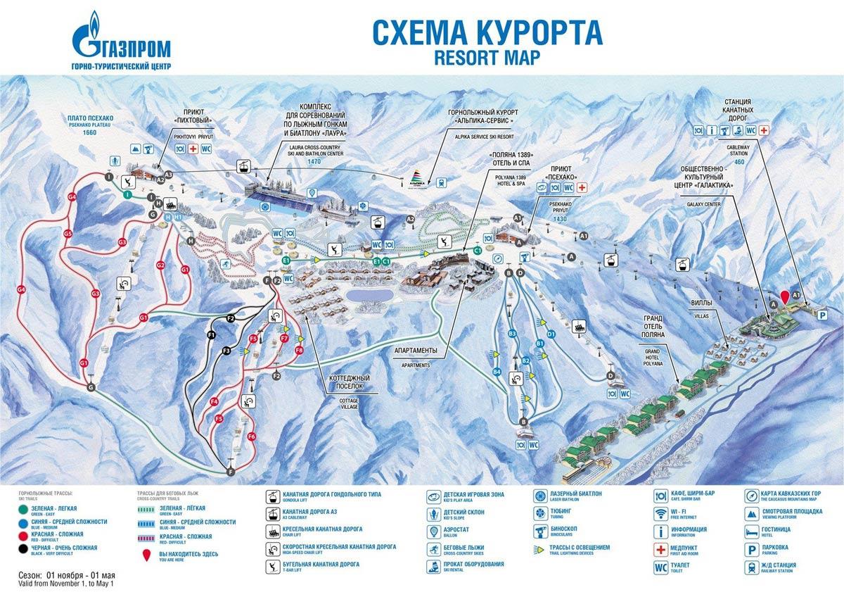 схема трасс для катания на Газпром