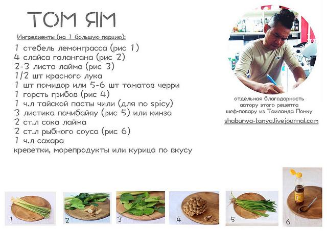 Ингредиенты для супа Том Ям Кунг, которые нам понадобятся для приготовления: