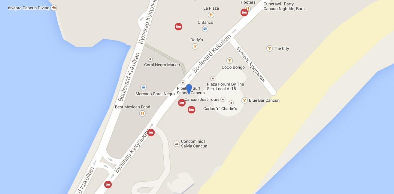 Карта расположения клуба CocoBongo в Канкуне