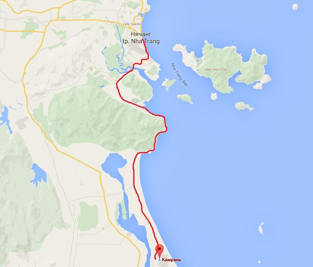 Карта проезда из аэропорта до Нячанга