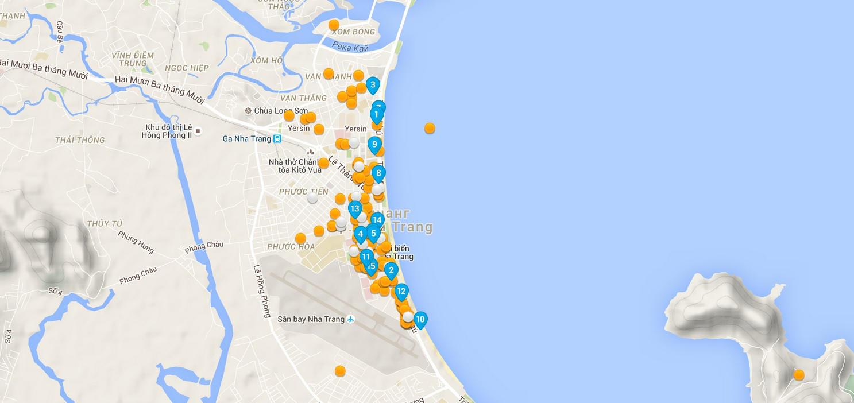 карта с отелями в Нячанге