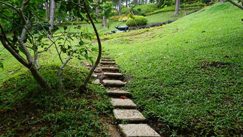 Дорога к скамейкам в парке Пренн Далат