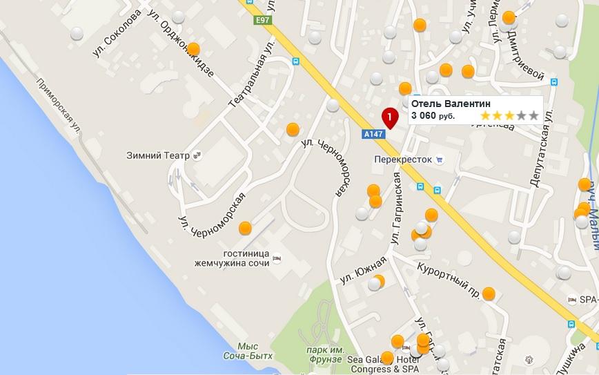 карта гостиницы сочи