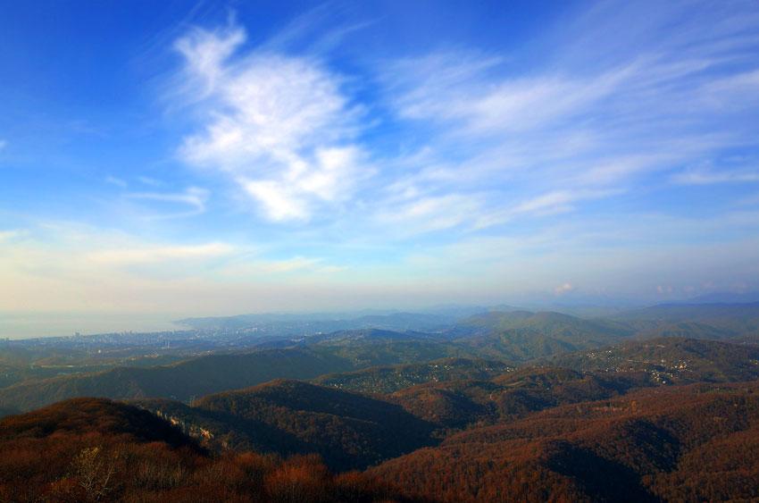 Вид с горы Ахун осенью