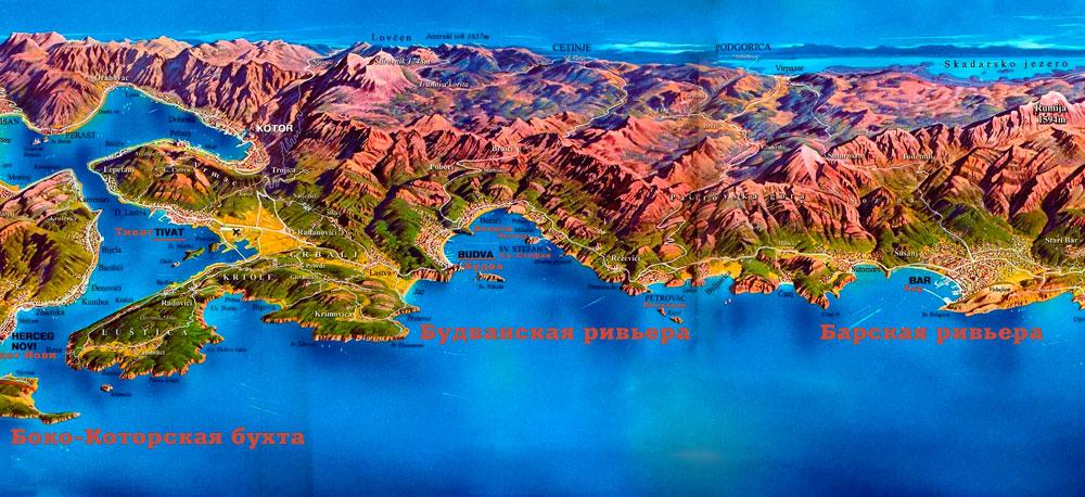 карта с пляжами на курортах черногории