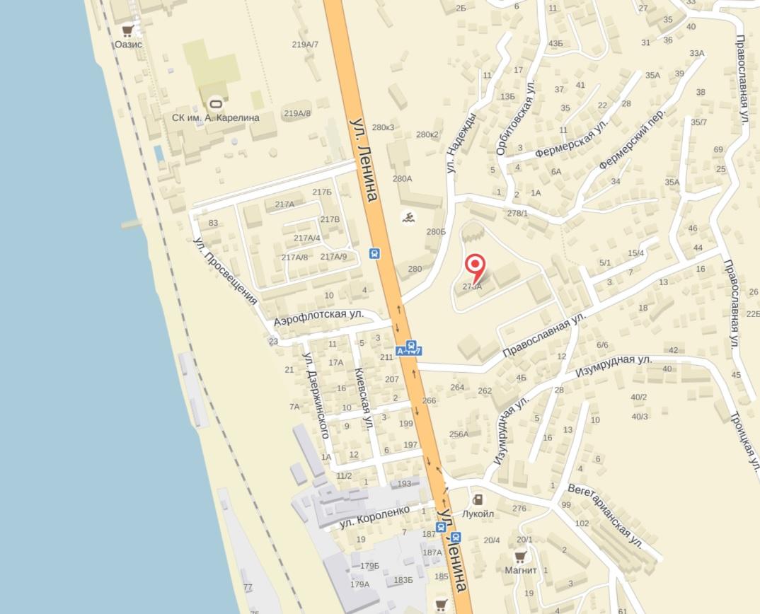Карта расположения санатория Изумруд Сочи