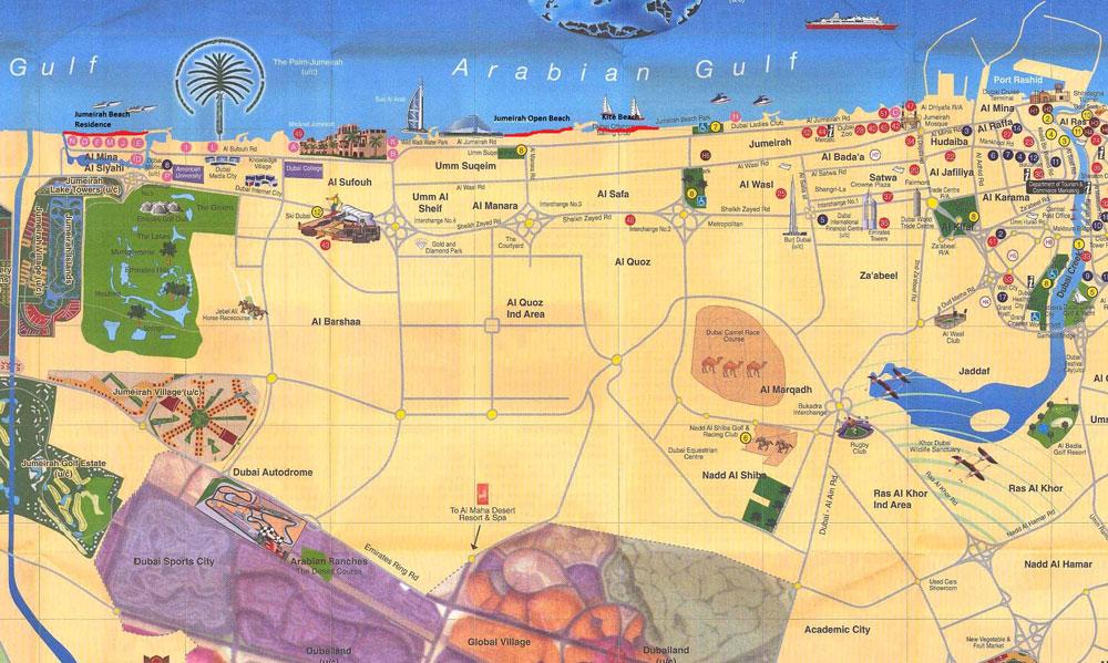 Пляжи Дубая, карта