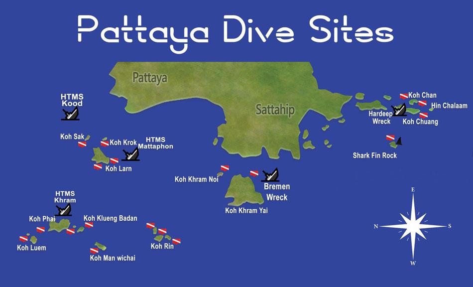 карта подводных достопримечательнстей в Таиланде