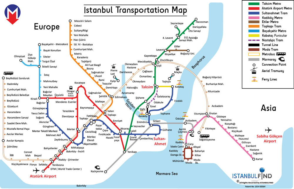 карта транспортной развязки Стамбула