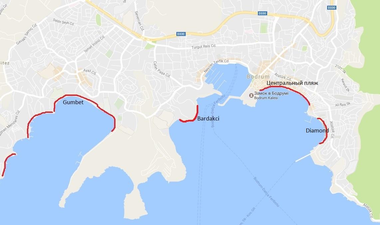карта пляжей Бодрума