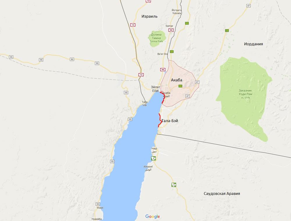 курорты Красного моря на карте