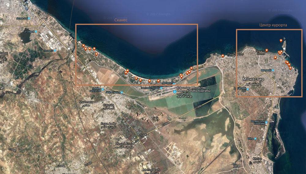 карта отелей в Монастире