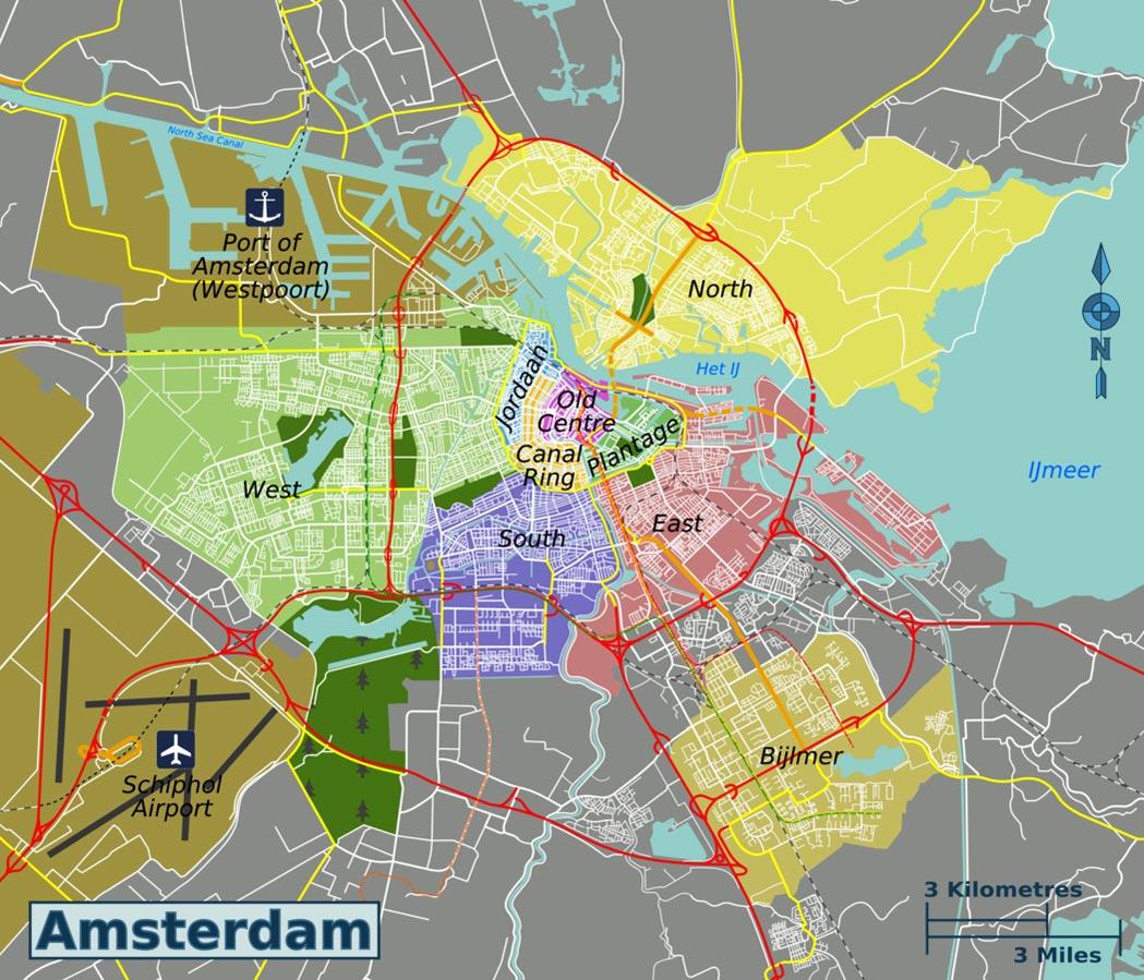 карта районов амстердама