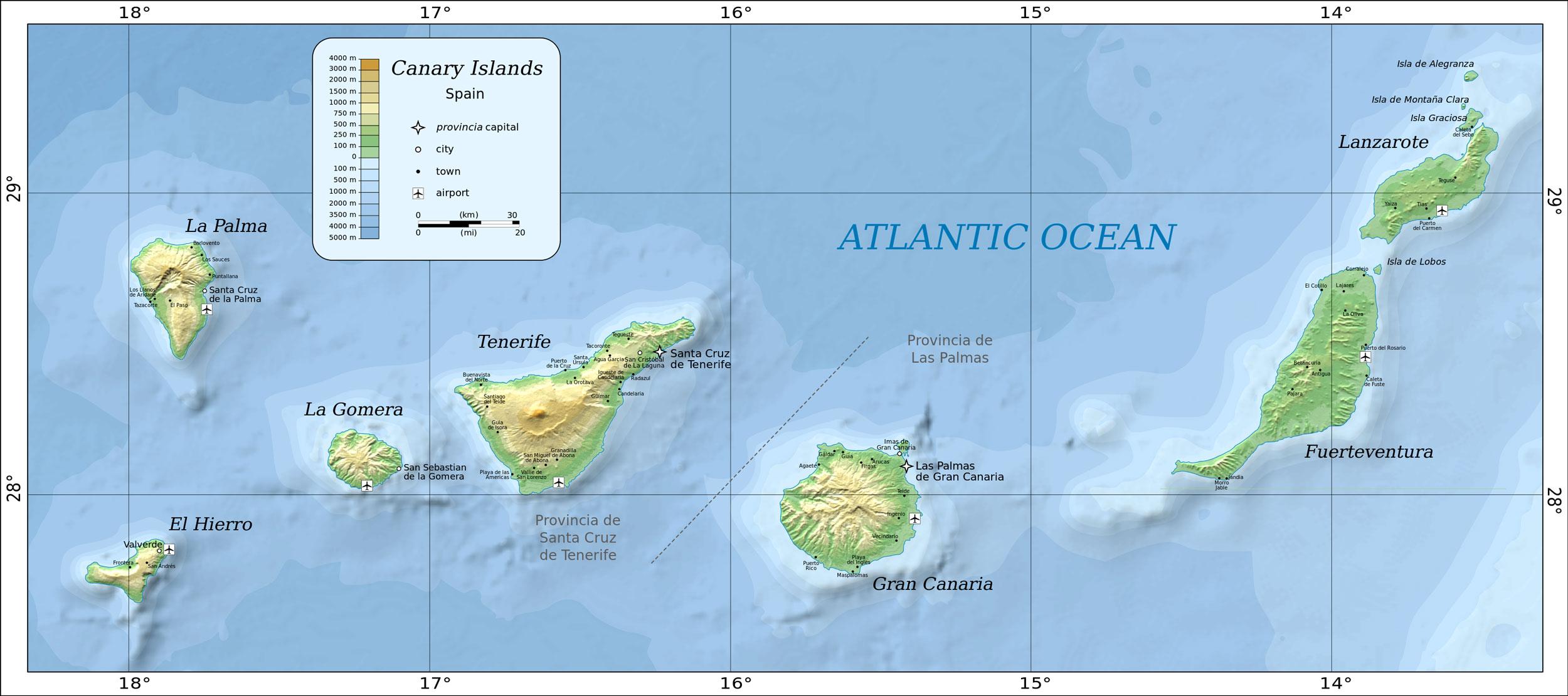 карта канарских островов