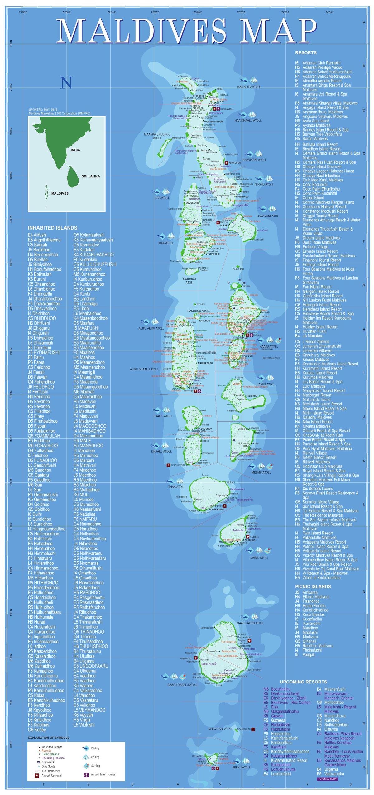 карта дайвинга на мальдивах
