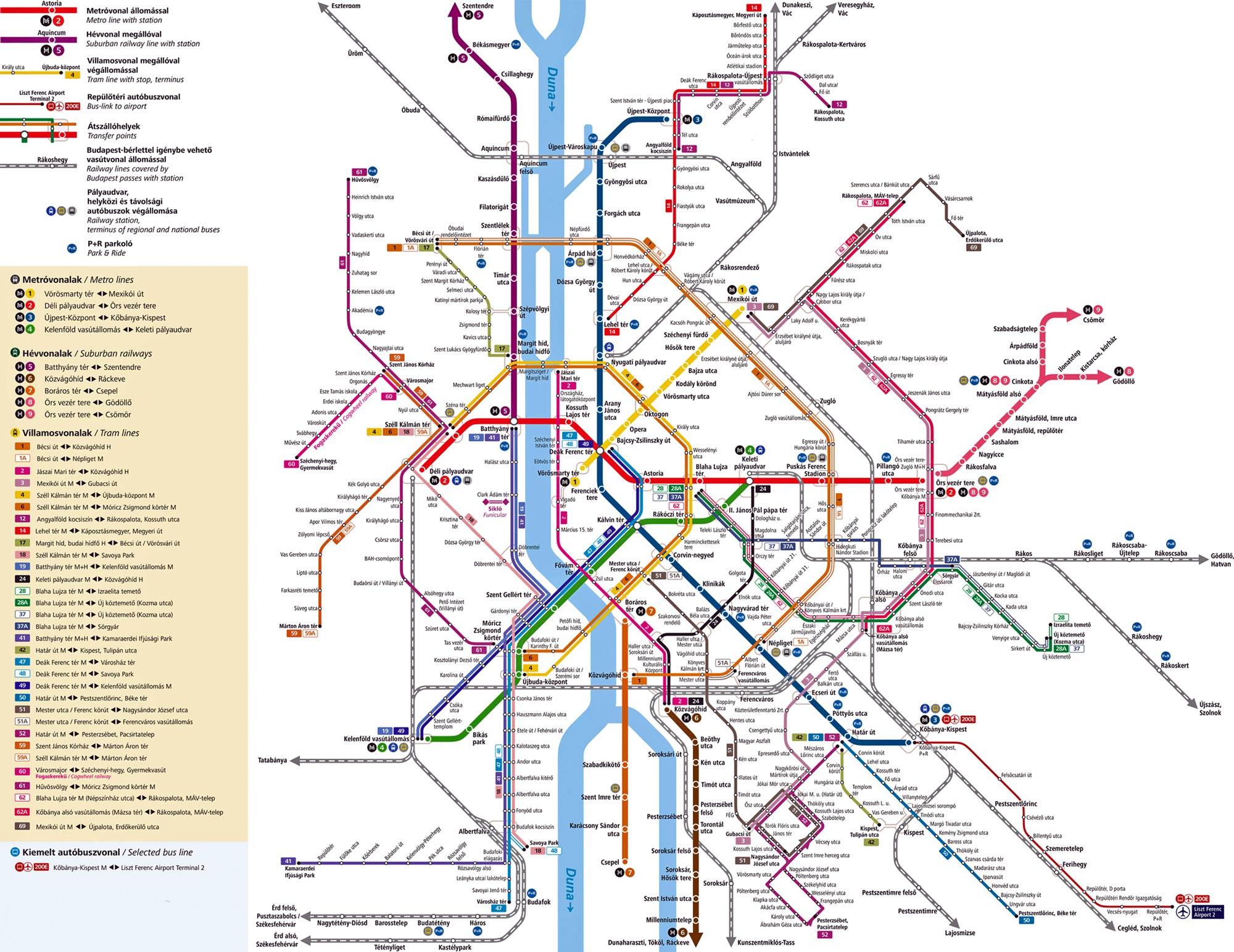 карта достопримечательностей Будапешта