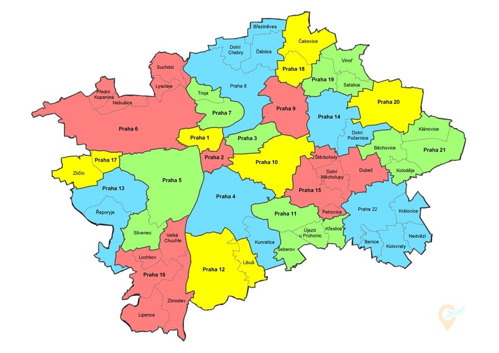 Районы Праги на карте города