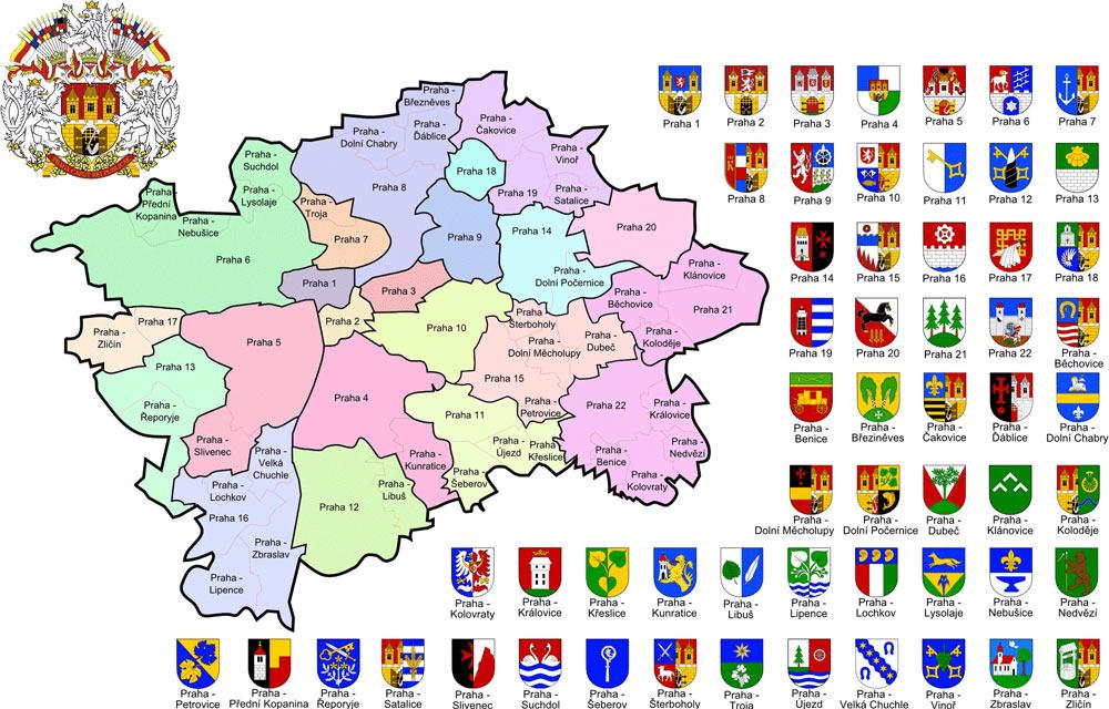 карта районов Праги
