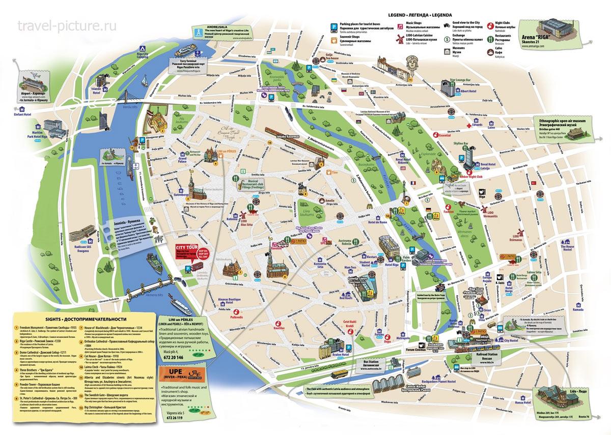 карта популярных мест