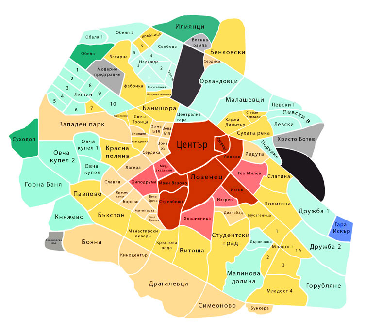 районы Софии на карте