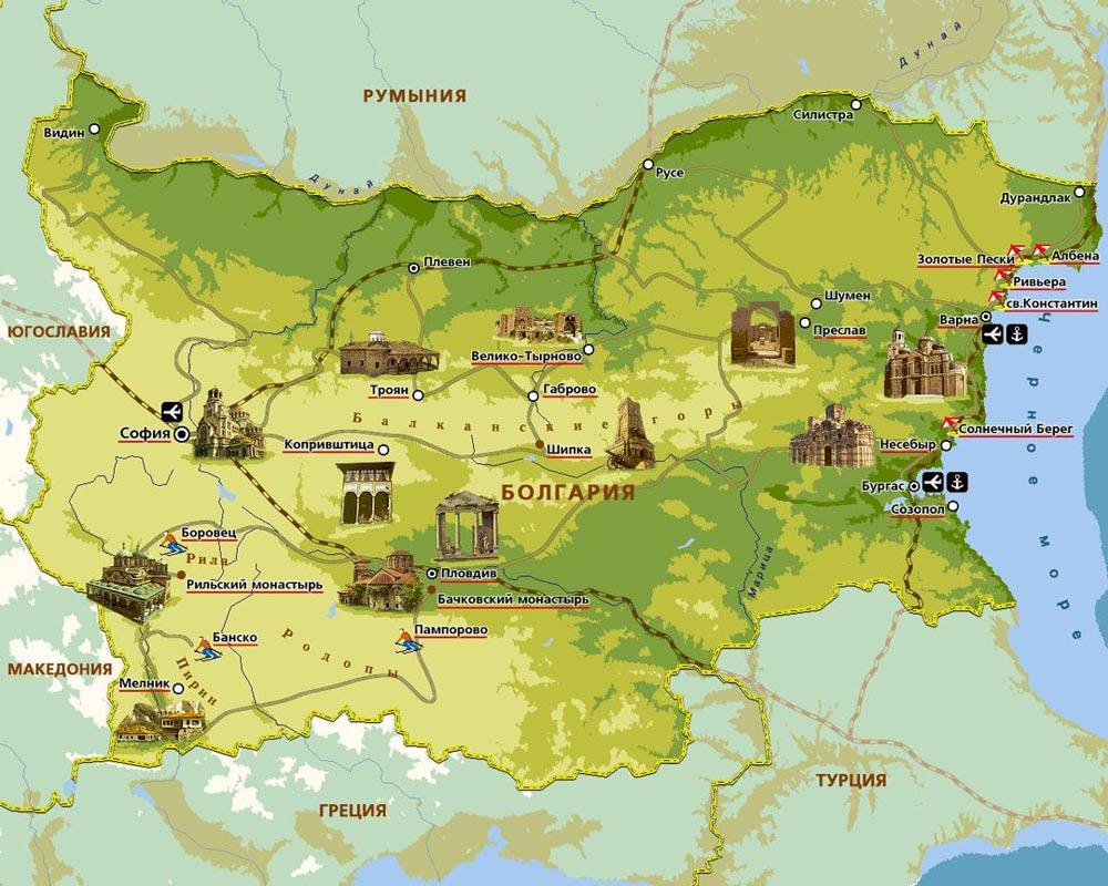 достопримечательности Болгарии на карте