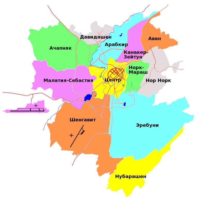 Районы Еравана на карте города