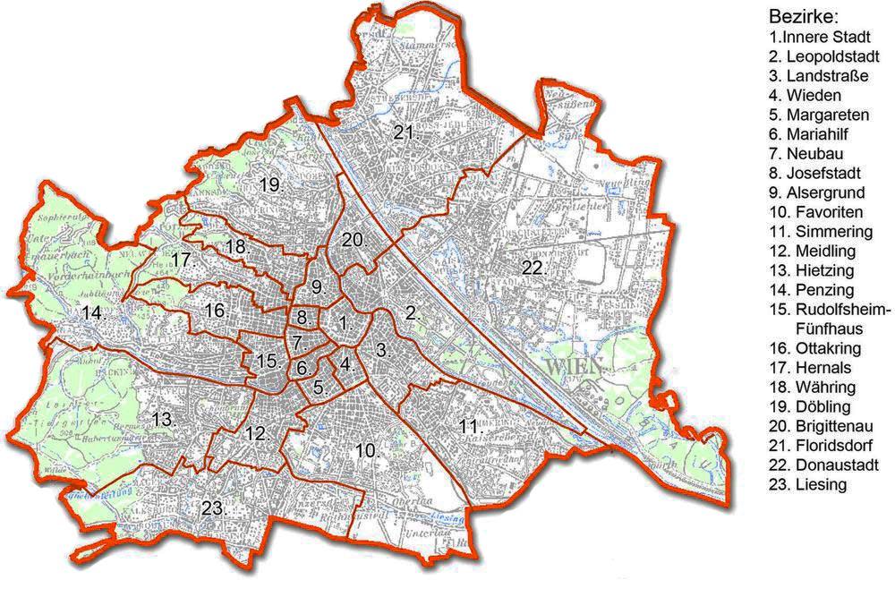 районы Вены на карте