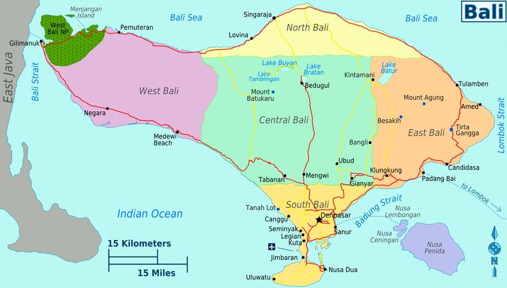 карта районов Бали