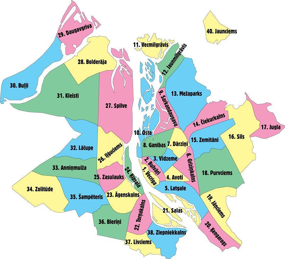 районы Риги на карте