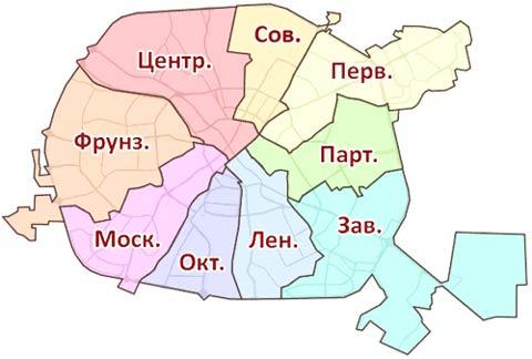 районы Минска на карте