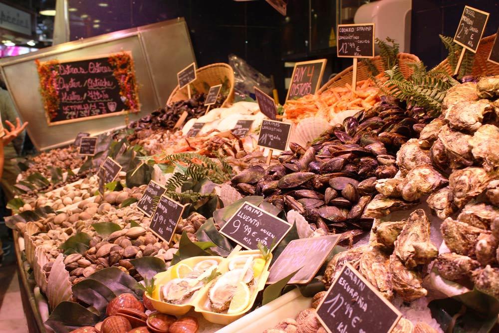 свежие морские продукты