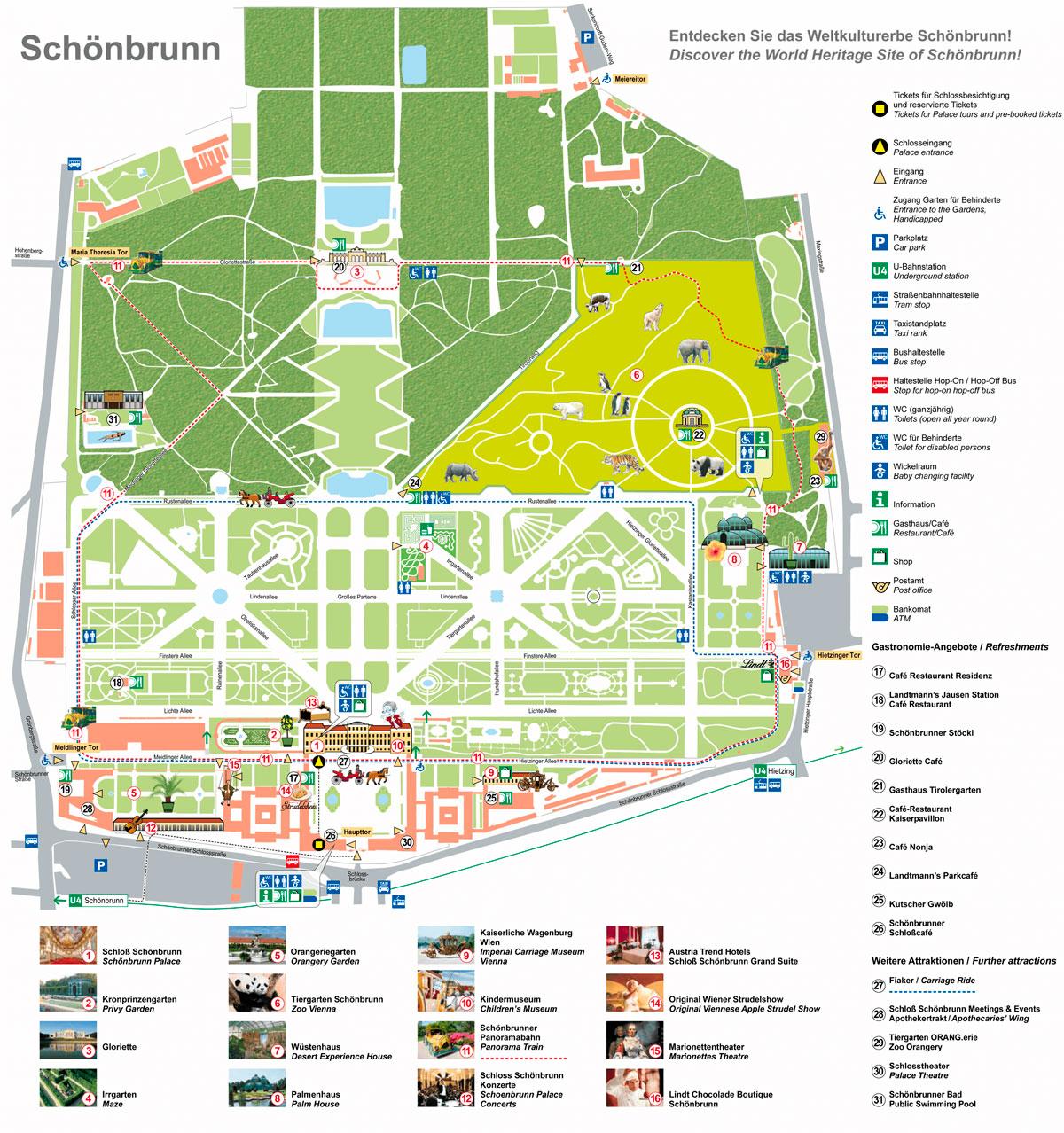 Схема дворца Шенбрунн
